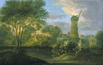 ca 1675 Mallemolen in Den Haag door Jacob van der Croos